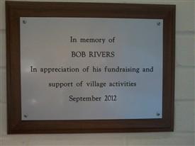 Photo:Plaque in Village Hall in gratitude for Bob's contribution for the community