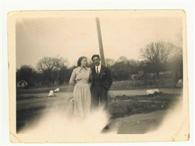 Photo:This is William (Bill) North and Joyce (nee Smith) at the Nissen huts camp after the war
